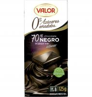 CHOCOLATE VALOR NEGRO SIN AZÚCAR 70% 125 G