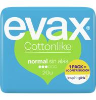 COMPRESA EVAX COTTONLIKE NORMAL SIN ALAS 20 UNIDADES