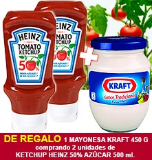 x2 Ketchup Heinz 50% en sucre 500 ml, 1 Maionesa Kraft 450 g de regal