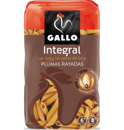 PASTA GALLO PLUMAS INTEGRAL 450 G