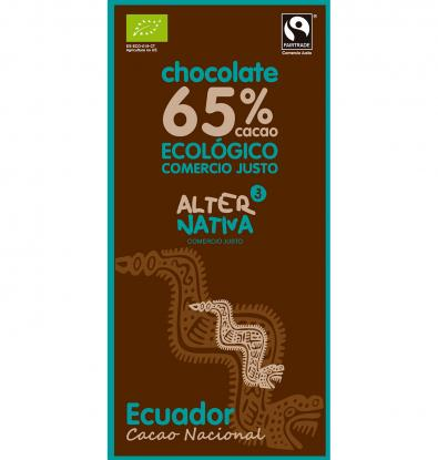 CHOCOLATE ECO ALTERNATIVA 65% CACAO ECUADOR 80 G