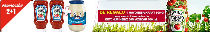 x2 Ketchup Heinz 50% en sucre 500 ml, 1 Maionesa Kraft 500 g de regal