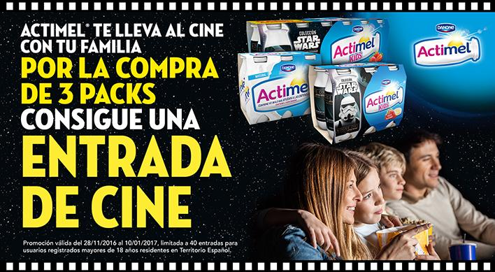 x3 Actimel, 1 entrada de cinema de regal per veure Star Wars